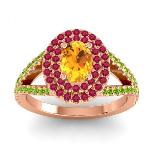 Ornate Oval Halo Dhala Citrine Ring with Ruby and Peridot in 14K Rose Gold