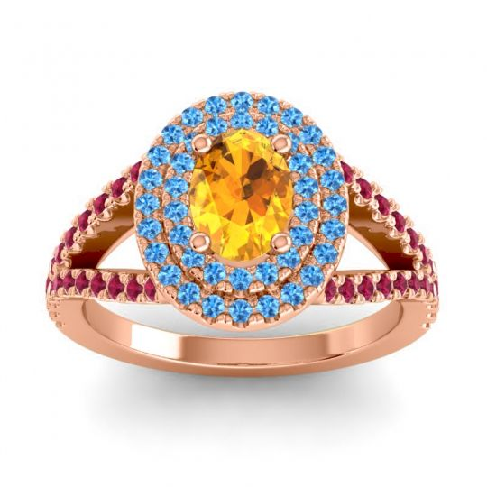Ornate Oval Halo Dhala Citrine Ring with Swiss Blue Topaz and Ruby in 14K Rose Gold