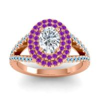 Ornate Oval Halo Dhala Diamond Ring with Amethyst and Aquamarine in 14K Rose Gold