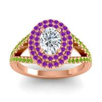 Ornate Oval Halo Dhala Diamond Ring with Amethyst and Peridot in 18K Rose Gold