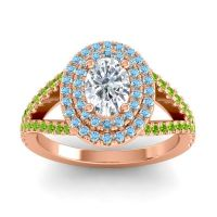 Ornate Oval Halo Dhala Diamond Ring with Aquamarine and Peridot in 14K Rose Gold