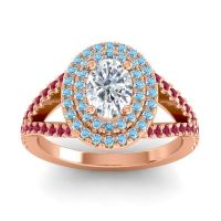 Ornate Oval Halo Dhala Diamond Ring with Aquamarine and Ruby in 18K Rose Gold