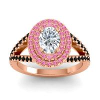 Ornate Oval Halo Dhala Diamond Ring with Pink Tourmaline and Black Onyx in 14K Rose Gold