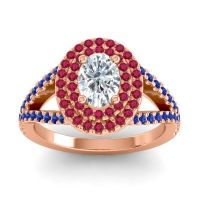 Ornate Oval Halo Dhala Diamond Ring with Ruby and Blue Sapphire in 14K Rose Gold