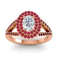 Ornate Oval Halo Dhala Diamond Ring with Ruby and Garnet in 18K Rose Gold