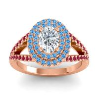 Ornate Oval Halo Dhala Diamond Ring with Swiss Blue Topaz and Ruby in 14K Rose Gold