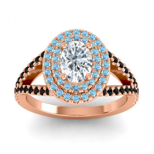 Ornate Oval Halo Dhala Diamond Ring with Aquamarine and Black Onyx in 18K Rose Gold