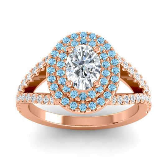 Ornate Oval Halo Dhala Diamond Ring with Aquamarine in 14K Rose Gold