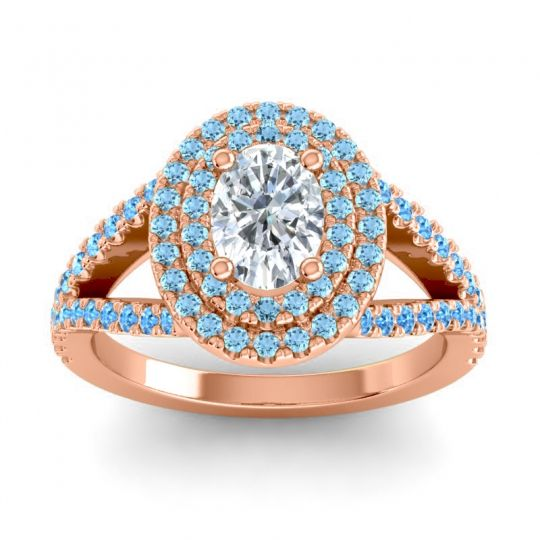 Ornate Oval Halo Dhala Diamond Ring with Aquamarine and Swiss Blue Topaz in 14K Rose Gold