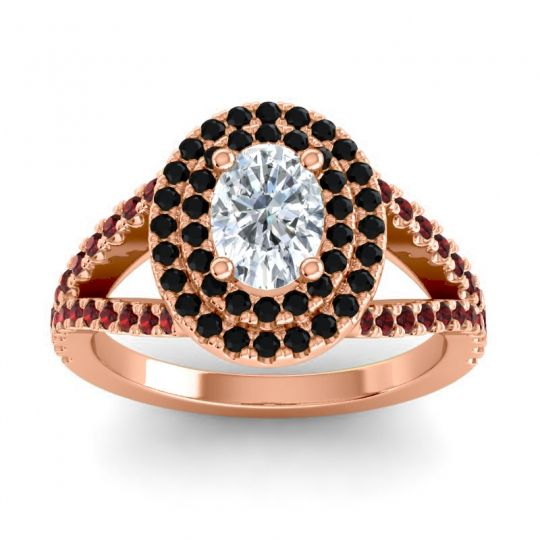 Ornate Oval Halo Dhala Diamond Ring with Black Onyx and Garnet in 18K Rose Gold