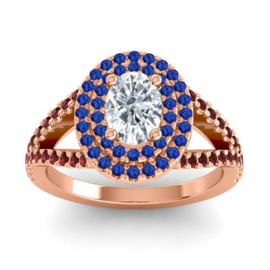 Ornate Oval Halo Dhala Diamond Ring with Blue Sapphire and Garnet in 18K Rose Gold