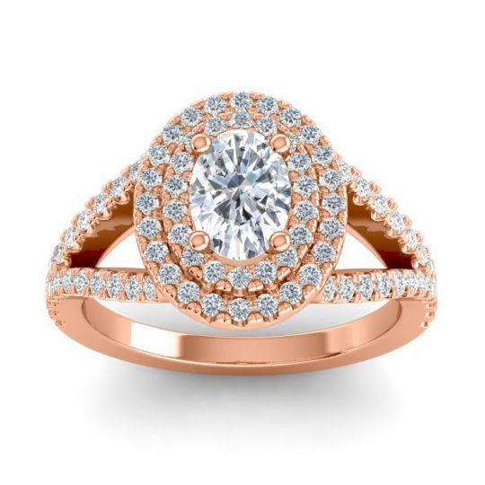 Ornate Oval Halo Dhala Diamond Ring in 18K Rose Gold
