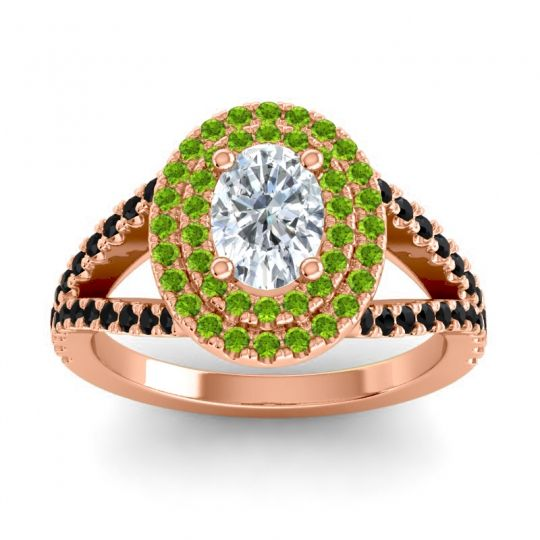 Ornate Oval Halo Dhala Diamond Ring with Peridot and Black Onyx in 14K Rose Gold