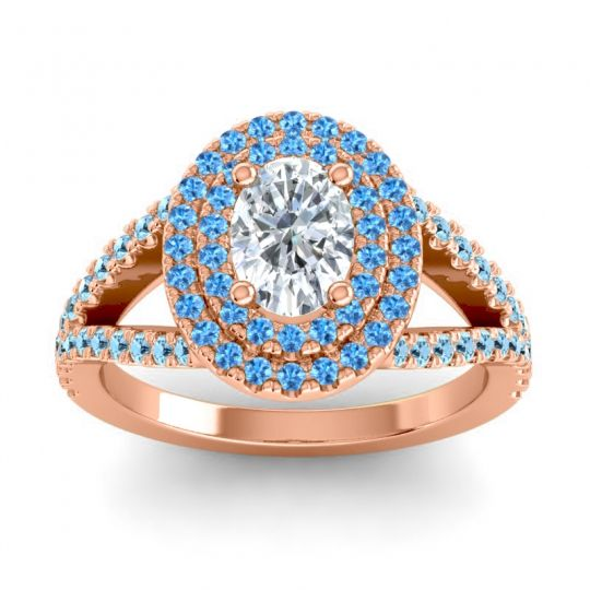 Ornate Oval Halo Dhala Diamond Ring with Swiss Blue Topaz and Aquamarine in 14K Rose Gold