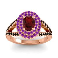Ornate Oval Halo Dhala Garnet Ring with Amethyst and Black Onyx in 14K Rose Gold