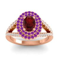 Ornate Oval Halo Dhala Garnet Ring with Amethyst and Diamond in 18K Rose Gold