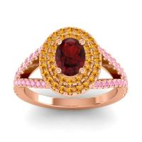 Ornate Oval Halo Dhala Garnet Ring with Citrine and Pink Tourmaline in 18K Rose Gold
