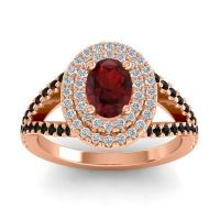 Ornate Oval Halo Dhala Garnet Ring with Diamond and Black Onyx in 14K Rose Gold
