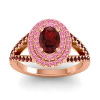 Ornate Oval Halo Dhala Garnet Ring with Pink Tourmaline in 14K Rose Gold