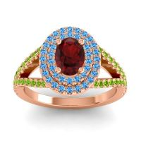 Ornate Oval Halo Dhala Garnet Ring with Swiss Blue Topaz and Peridot in 14K Rose Gold
