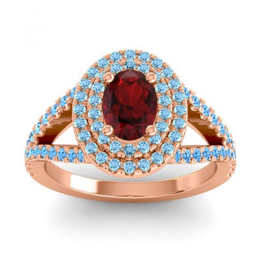 Ornate Oval Halo Dhala Garnet Ring with Aquamarine and Swiss Blue Topaz in 14K Rose Gold