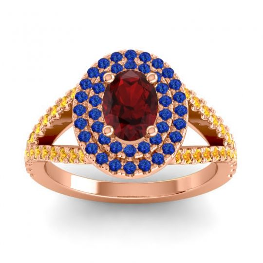 Ornate Oval Halo Dhala Garnet Ring with Blue Sapphire and Citrine in 14K Rose Gold