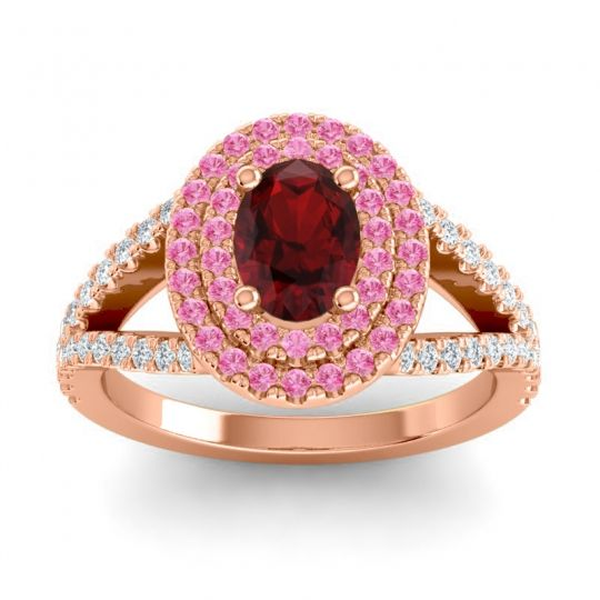Ornate Oval Halo Dhala Garnet Ring with Pink Tourmaline and Diamond in 14K Rose Gold