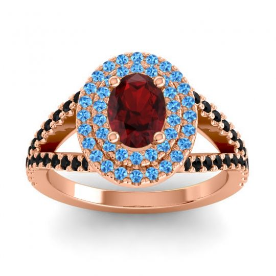 Ornate Oval Halo Dhala Garnet Ring with Swiss Blue Topaz and Black Onyx in 18K Rose Gold