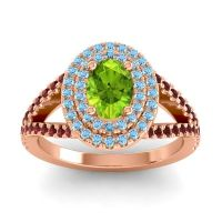 Ornate Oval Halo Dhala Peridot Ring with Aquamarine and Garnet in 14K Rose Gold