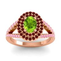 Ornate Oval Halo Dhala Peridot Ring with Garnet and Pink Tourmaline in 18K Rose Gold