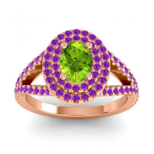 Ornate Oval Halo Dhala Peridot Ring with Amethyst in 14K Rose Gold