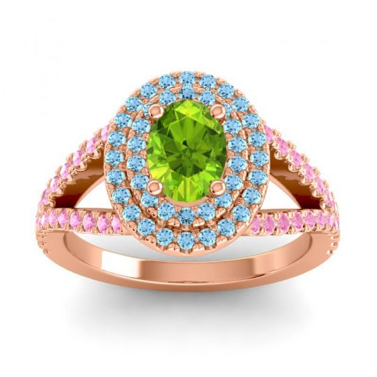 Ornate Oval Halo Dhala Peridot Ring with Aquamarine and Pink Tourmaline in 18K Rose Gold