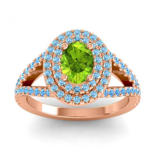 Ornate Oval Halo Dhala Peridot Ring with Aquamarine and Swiss Blue Topaz in 18K Rose Gold
