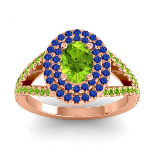 Ornate Oval Halo Dhala Peridot Ring with Blue Sapphire in 14K Rose Gold