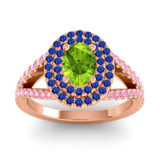 Ornate Oval Halo Dhala Peridot Ring with Blue Sapphire and Pink Tourmaline in 18K Rose Gold