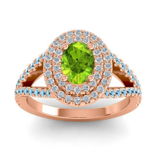 Ornate Oval Halo Dhala Peridot Ring with Diamond and Aquamarine in 14K Rose Gold