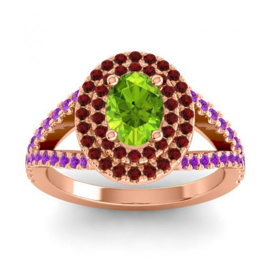 Ornate Oval Halo Dhala Peridot Ring with Garnet and Amethyst in 18K Rose Gold