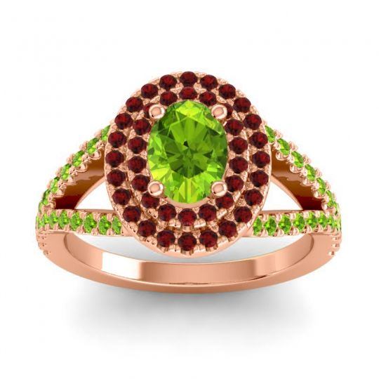 Ornate Oval Halo Dhala Peridot Ring with Garnet in 18K Rose Gold