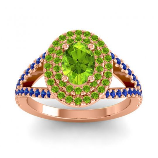 Ornate Oval Halo Dhala Peridot Ring with Blue Sapphire in 18K Rose Gold