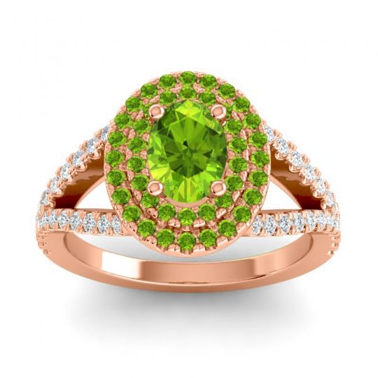 Ornate Oval Halo Dhala Peridot Ring with Diamond in 14K Rose Gold