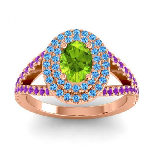 Ornate Oval Halo Dhala Peridot Ring with Swiss Blue Topaz and Amethyst in 18K Rose Gold