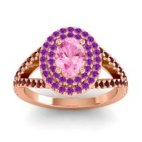 Ornate Oval Halo Dhala Pink Tourmaline Ring with Amethyst and Garnet in 14K Rose Gold