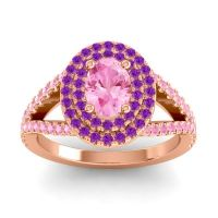 Ornate Oval Halo Dhala Pink Tourmaline Ring with Amethyst in 14K Rose Gold