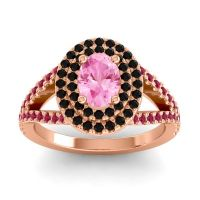Ornate Oval Halo Dhala Pink Tourmaline Ring with Black Onyx and Ruby in 18K Rose Gold