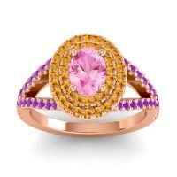 Ornate Oval Halo Dhala Pink Tourmaline Ring with Citrine and Amethyst in 14K Rose Gold