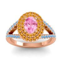 Ornate Oval Halo Dhala Pink Tourmaline Ring with Citrine and Swiss Blue Topaz in 14K Rose Gold