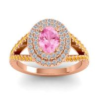 Ornate Oval Halo Dhala Pink Tourmaline Ring with Diamond and Citrine in 14K Rose Gold