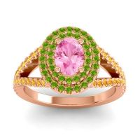 Ornate Oval Halo Dhala Pink Tourmaline Ring with Peridot and Citrine in 14K Rose Gold