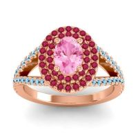 Ornate Oval Halo Dhala Pink Tourmaline Ring with Ruby and Aquamarine in 14K Rose Gold