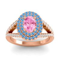 Ornate Oval Halo Dhala Pink Tourmaline Ring with Swiss Blue Topaz and Diamond in 18K Rose Gold